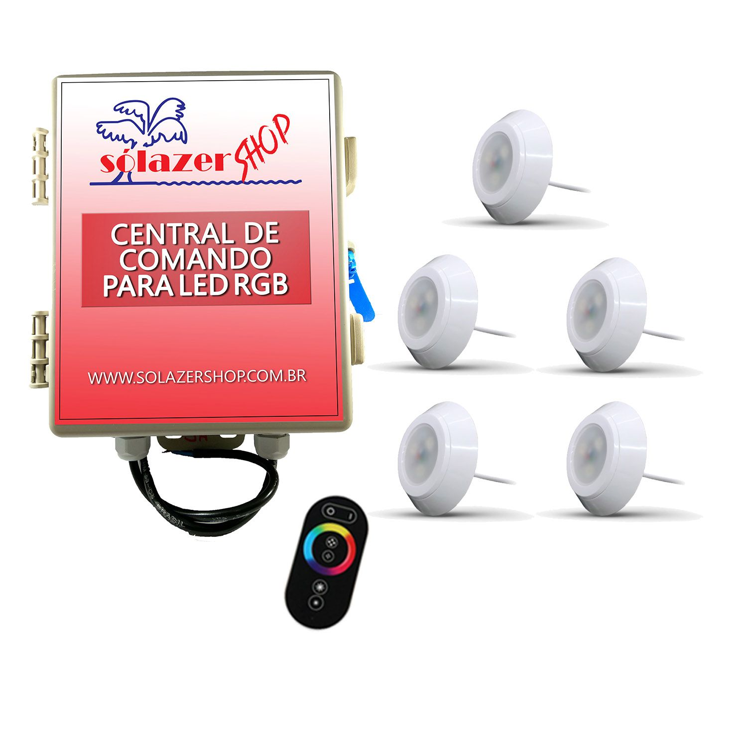 Led Piscina - Kit 5 Led RGB 9W ABS Divina Lux com Central e Controle