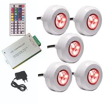 Led Piscina - Kit 5 Led Tec Light ABS RGB com Central Compacta