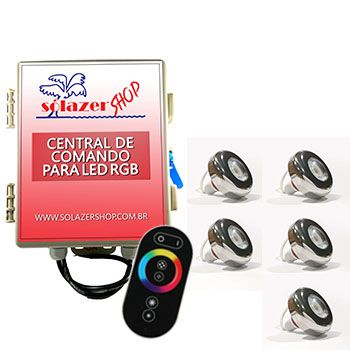 Led Piscina - Kit 5 Led Tholz 6W Inox RGB com Central e Controle Touch