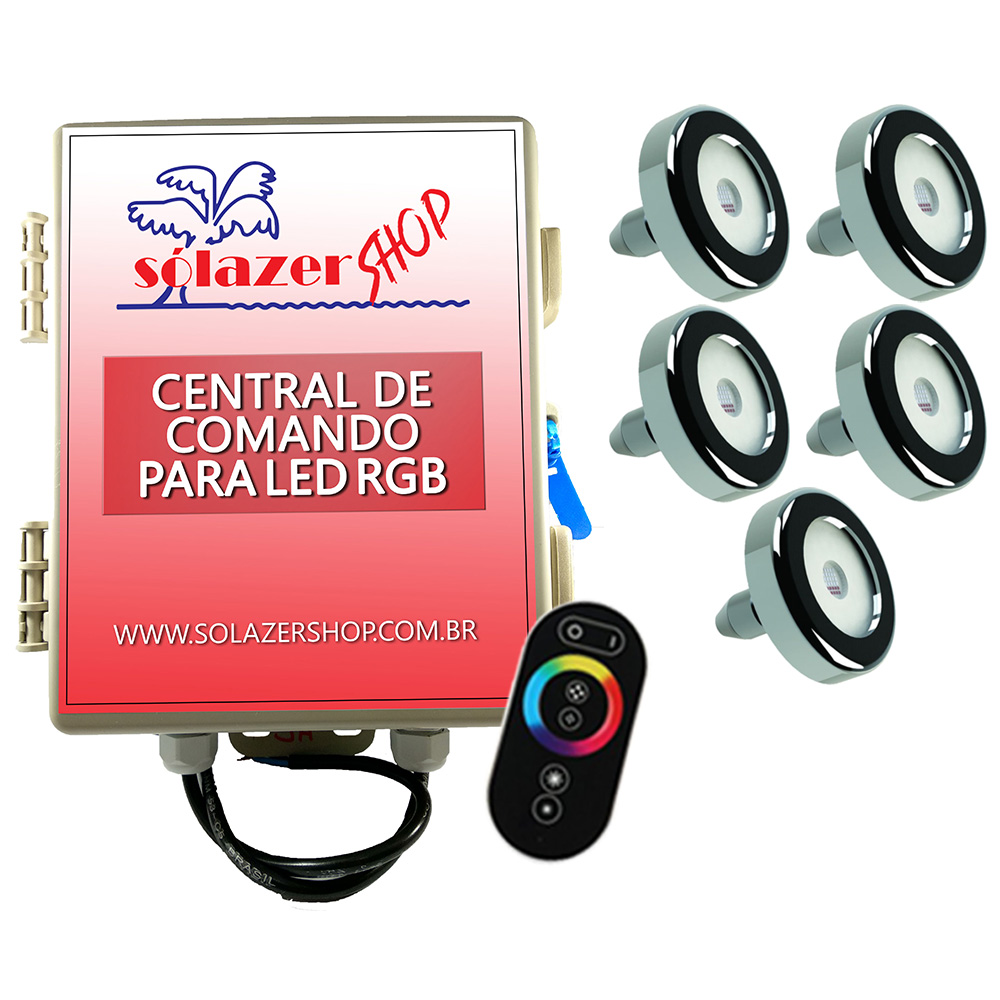 Led Piscina - Kit 5 Tholz Inox RGB 18W + Central + Controle Touch