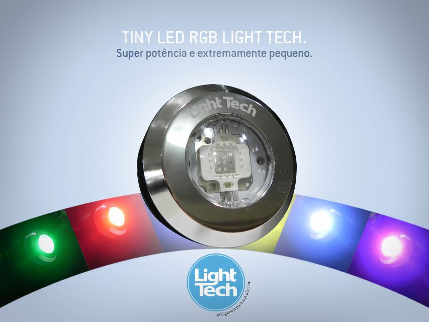 Led Piscina - Kit 5 Tiny Led INOX RGB com Central e Controle Touch