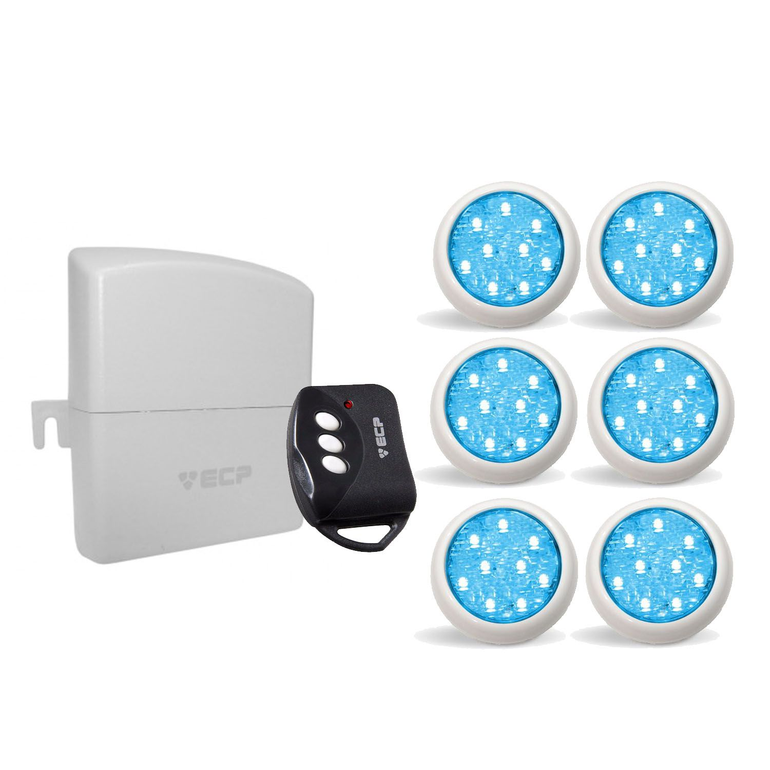 Kit 6 Led Piscina Monocromático 9w + Central + Controle