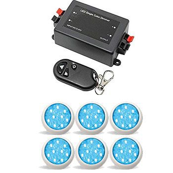 Led Piscina - Kit 6 Led Monocromático 9w com Central e Controle