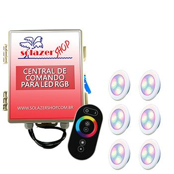 Led Piscina - Kit 6 Led RGB 6W ABS Divina Lux com Central e Controle