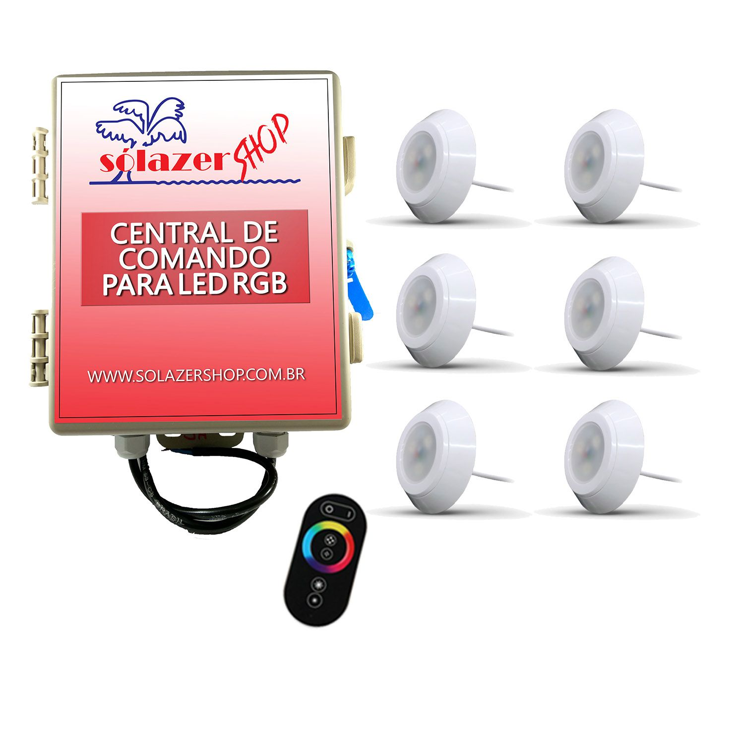 Led Piscina - Kit 6 Led RGB 9W ABS Divina Lux com Central e Controle
