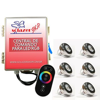Kit 6 Led Piscina Inox RGB 6W + Central + Controle - Tholz