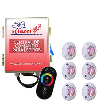 Led Piscina - Kit 6 Pratic SMD com Central e Controle Touch