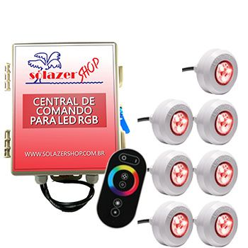 Led Piscina - Kit 7 Led Tec Light ABS RGB com Central e Controle Touch