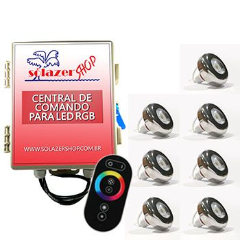 Led Piscina - Kit 7 Led Tholz 6W Inox RGB com Central e Controle Touch