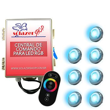 Led Piscina - Kit 7 Led Tholz 9W Inox RGB com Central e Controle Touch