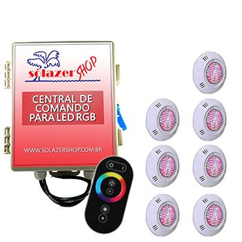 Kit 7 Led Piscina Pratic SMD + Central + Controle - Sodramar