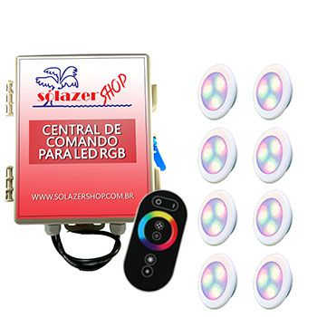 Led Piscina - Kit 8 Led RGB 6W ABS Divina Lux com Central e Controle