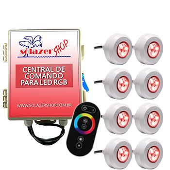 Led Piscina - Kit 8 Led Tec Light ABS RGB com Central e Controle Touch