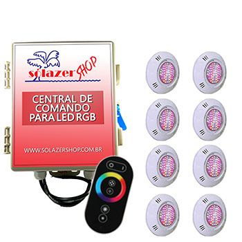 Kit 8 Led Piscina Pratic SMD + Central + Controle - Sodramar