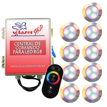 Kit 9 Led Piscina RGB 12W Inox Divina Lux + Central + Controle