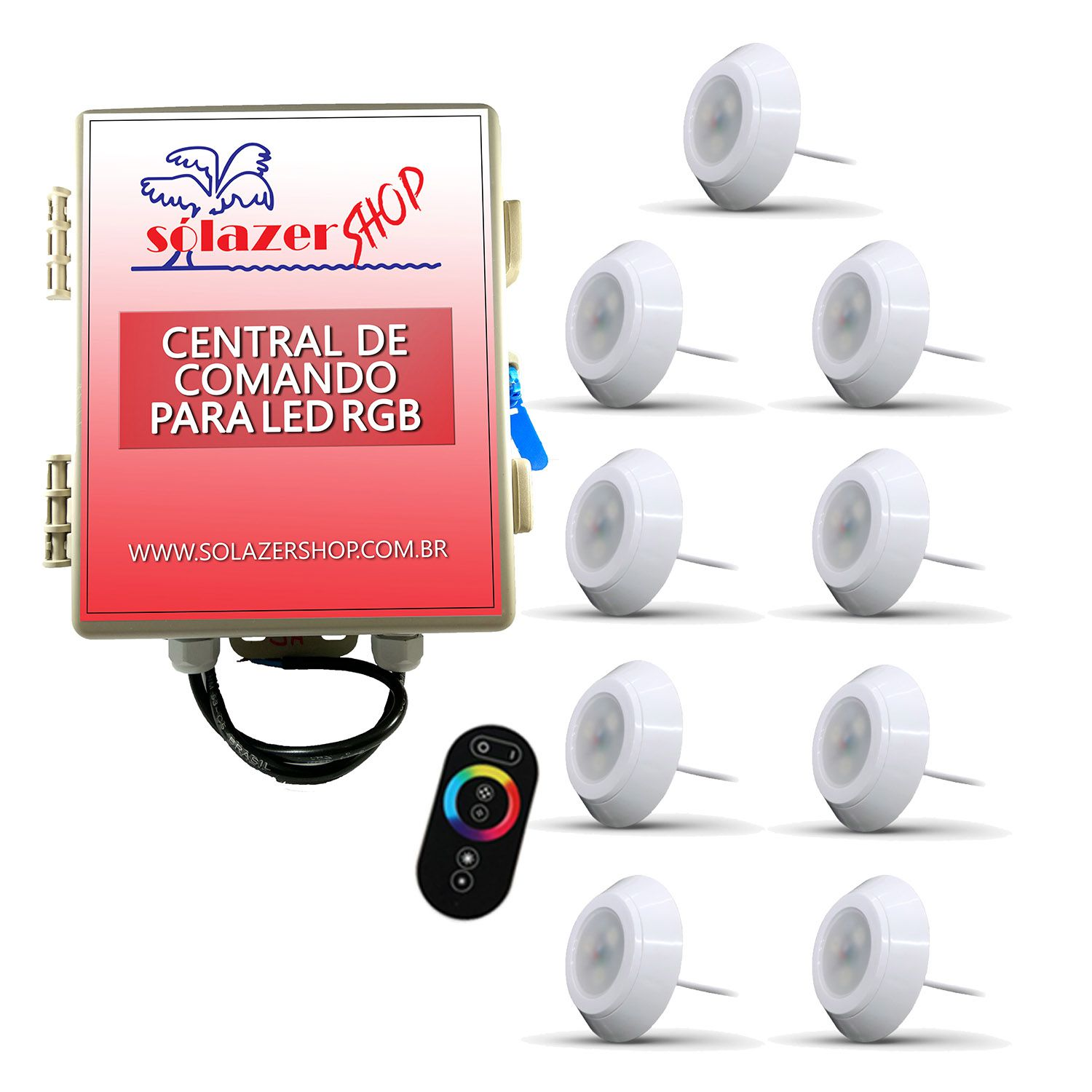 Led Piscina - Kit 9 Led RGB 9W ABS Divina Lux com Central e Controle
