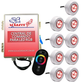 Kit 9 Led Piscina RGB Colorido + Central + Touch - Light Tech