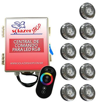 Kit 9 Tiny Led Piscina Inox RGB + Central + Controle Touch