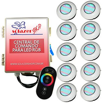 Led Piscina RGB - Kit 10 Easy Led 70 com Central e Controle Touch