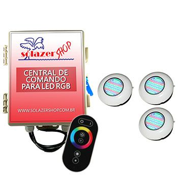 Led Piscina RGB - Kit 3 Easy Led 70 com Central e Controle Touch