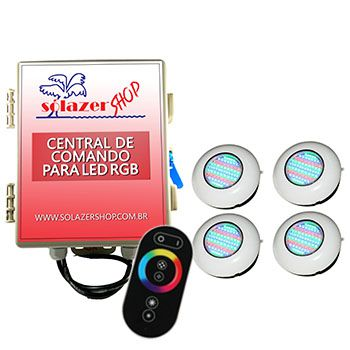 Led Piscina RGB - Kit 4 Easy Led 70 com Central e Controle Touch
