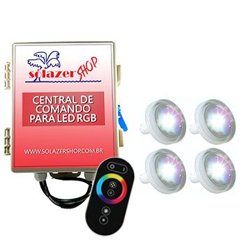 Led Piscina RGB - Kit 4 Led Tholz 4,5W ABS com Central e Controle Touch