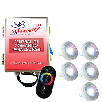 Led Piscina RGB - Kit 5 Led Tholz 4,5W ABS com Central e Controle Touch