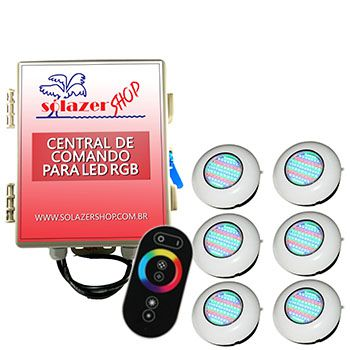 Led Piscina RGB - Kit 6 Easy Led 70 com Central e Controle Touch