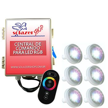 Led Piscina RGB - Kit 6 Led Tholz 4,5W ABS com Central e Controle Touch