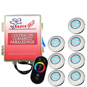 Led Piscina RGB - Kit 7 Easy Led 70 com Central e Controle Touch