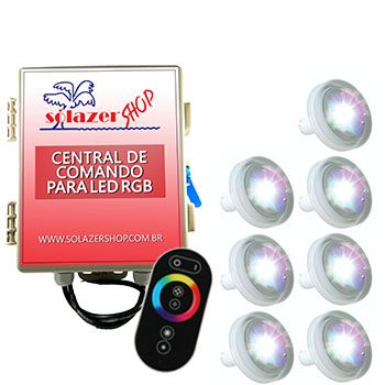 Led Piscina RGB - Kit 7 Led Tholz 4,5W ABS com Central e Controle Touch
