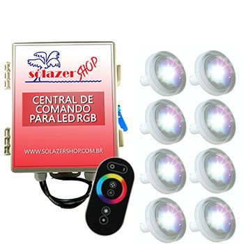 Led Piscina RGB - Kit 8 Led Tholz 4,5W ABS com Central e Controle Touch