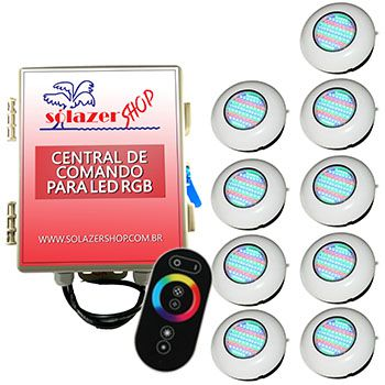Led Piscina RGB - Kit 9 Easy Led 70 com Central e Controle Touch