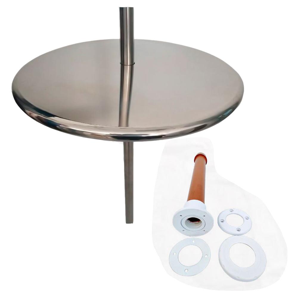 Mesa Redonda para Piscina em Inox com Chumbador - 60cm