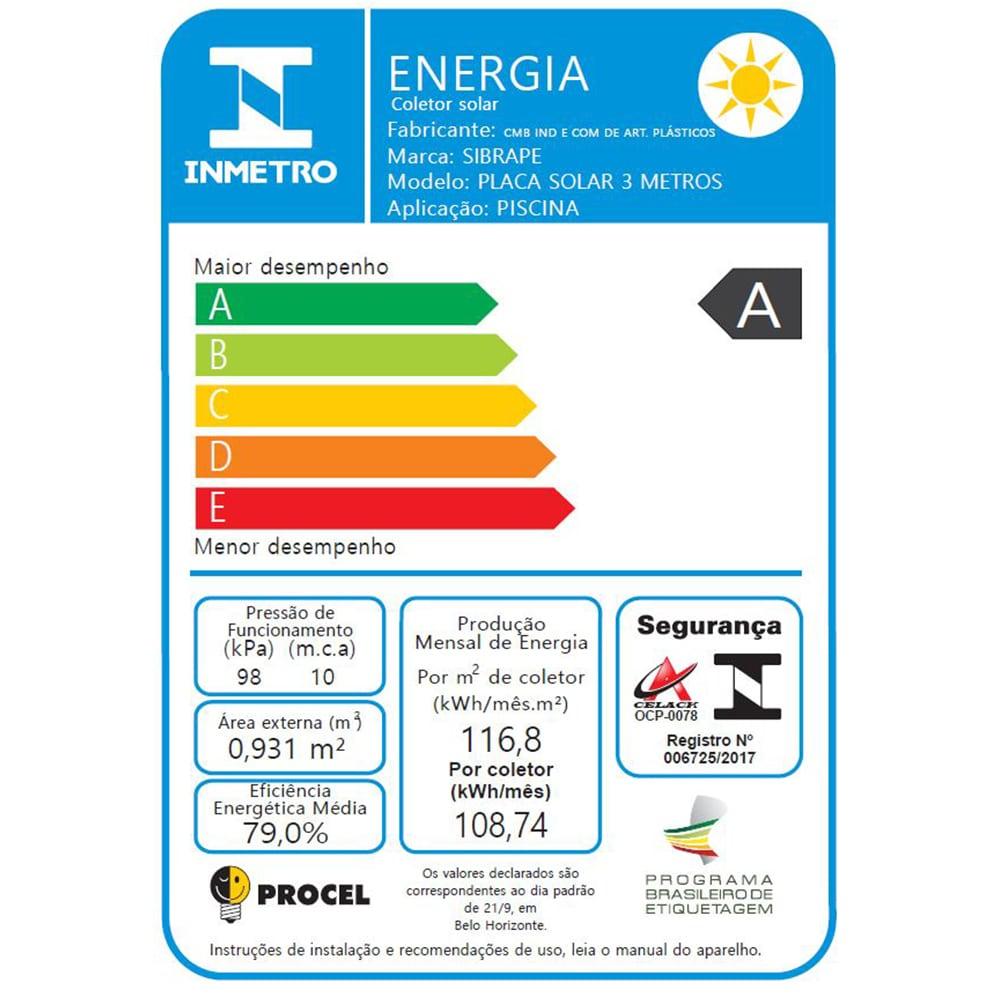 Placa Coletor Aquecedor Solar Piscina até 15m² ou 21.000 L - CMB AQUA