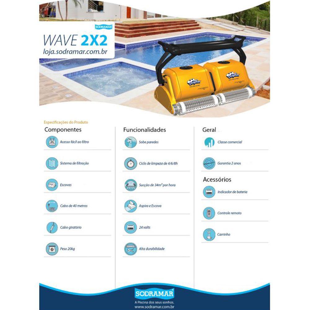 Robô Aspirador Automático Wave 2x2 Piscina 25m - Sodramar