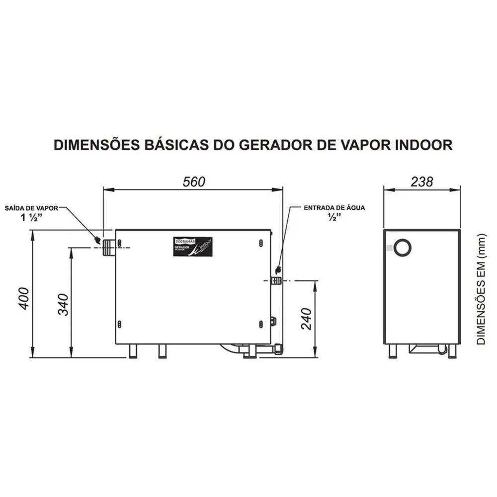 Sauna indoor 12kw + comando analógico - Sodramar