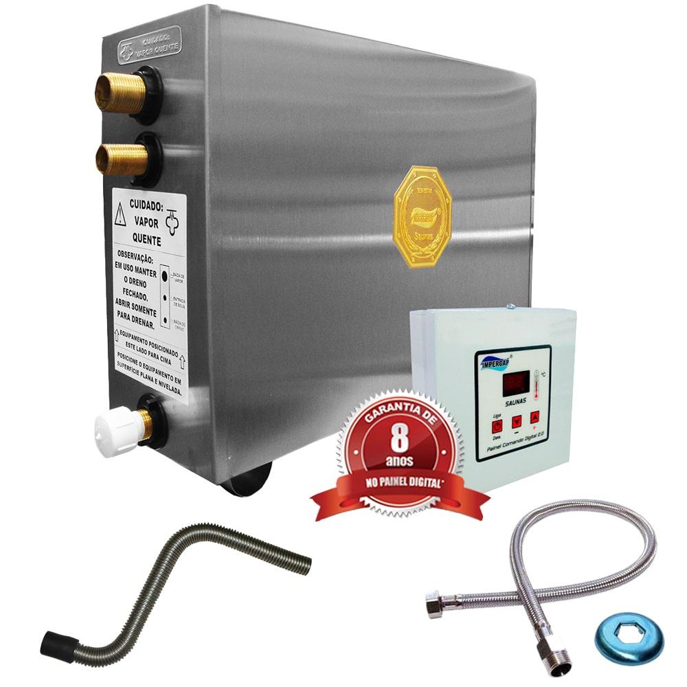 Sauna Vapor Impercap 6kw 220 Trif + Tubo Aço + Comando Digital Impercap