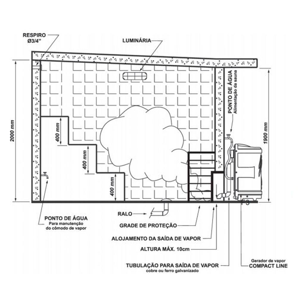 Sauna Vapor Sodramar Universal 12Kw + Quadro Analógico + Kit Instalação 18m³