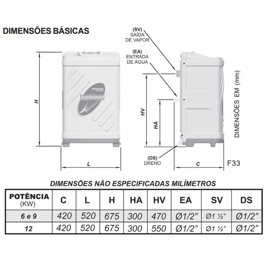 Sauna Vapor Sodramar Universal 9Kw + Quadro Analógico + Kit Instalação 10m³