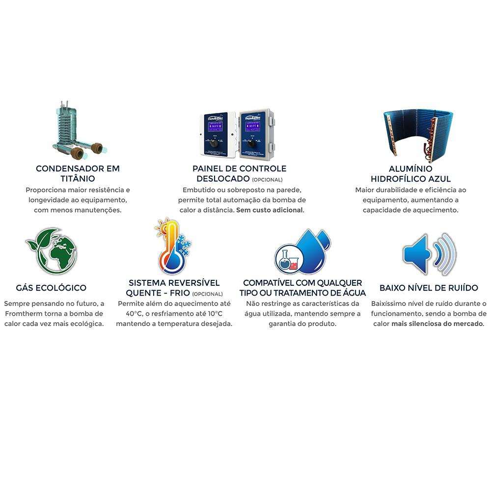 Trocador de Calor Aquecedor Piscina FromTherm FT120 com TouchScreen