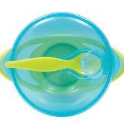Pote Pratinho Kit Refeição Com Ventosa Azul Colher Buba