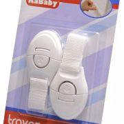 Trava de seguranca para Porta Gaveta Geladeira Seguranca Para Bebe Crianca Protetor Kit Com 2 Tecido Branco PVC Kababy.