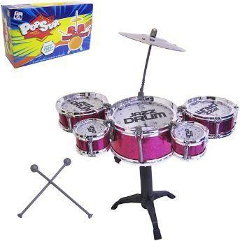 Mini Bateria Musical Infantil 5 Tambores Baquetas Prato.
