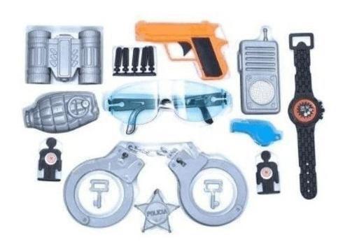 Kit Policial Infantil Police Department Algema Arma Brinqued