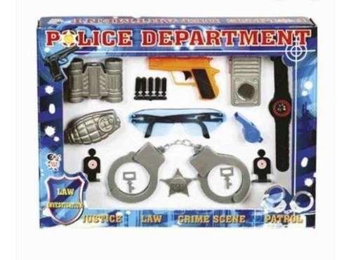 Kit Policia Brinquedo Infantil Police + Capacete Policial.