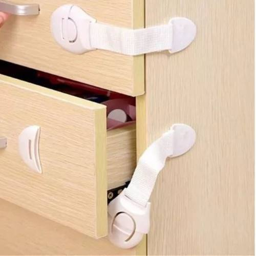 Kit Com 2 Travas De Seguranca Para Porta Gaveta Geladeira Tecido Branco Pvc Kababy Seguranca Para Bebe Crianca Protetor .