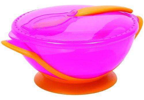 Kit Refeicao Rosa Buba Baby Com Tampa Compartimento Para Guardar Colher Pote Com Ventosa Livre De Bpa.