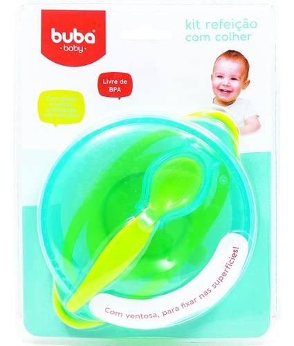 Kit Refeicao Buba Baby Azul Livre De Bpa Pote Com Tampa Ventosa Compartimento Para Guardar Colher.