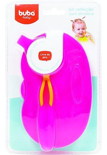 Kit Refeicao Cor Rosa Buba Baby Bebe Menina Pratinho Pote Infantil Divisoria Colher E Tampa .